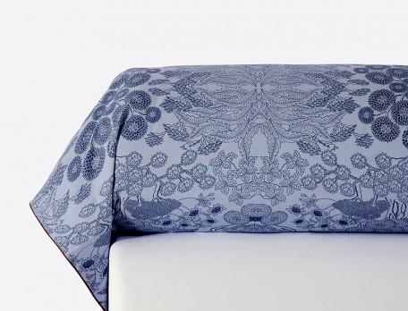 Taie de traversin percale imprimée Bleu porcelaine