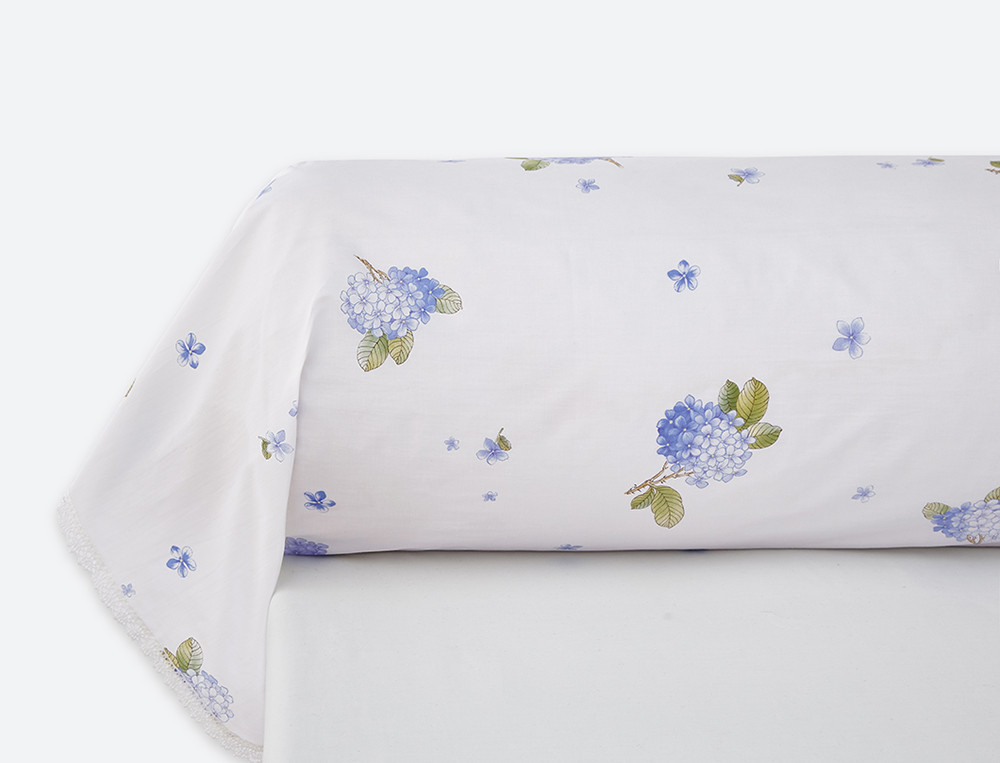 Taie de traversin percale imprimé grands motifss fleuri Ginza