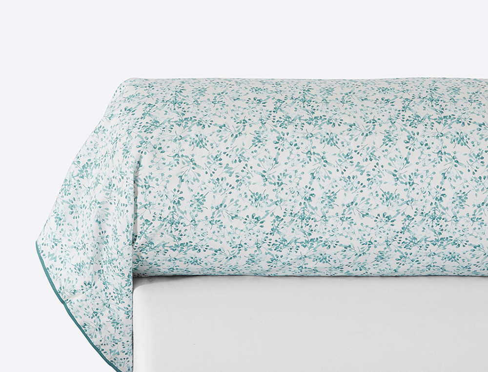 Taie de traversin perale imprimé fleuri émeraude Giverny
