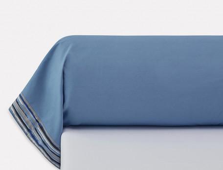 Taie de traversin percale bleue parement rayés Infiniment bleu