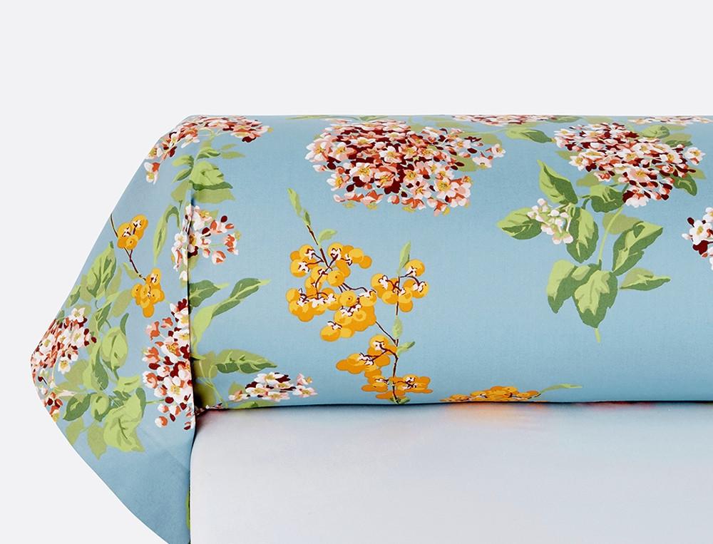 Taie de traversin percale imprimé fleuri Jardin imaginaire
