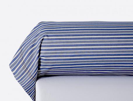 Taie de traversin percale rayée bleue et blanche doubl piqûre Les bleus de Nîmes
