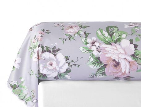 Taie de traversin satin imprimé fleuri bords festonnés Les magnolias