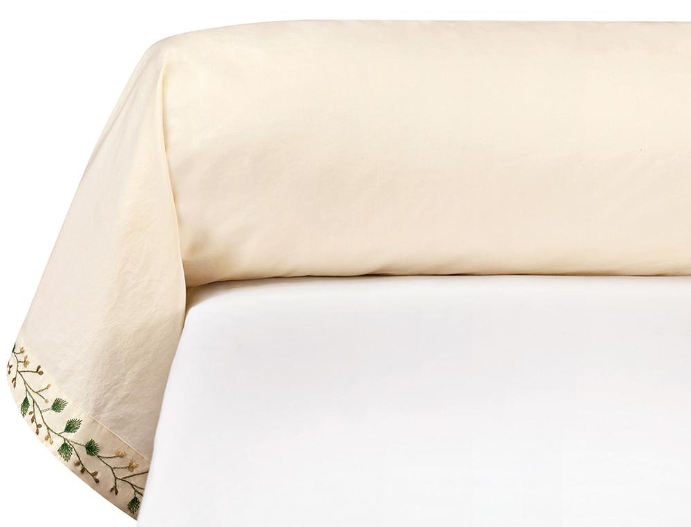 Taie de traversin percale lavée 100% coton brodée Mascarpone