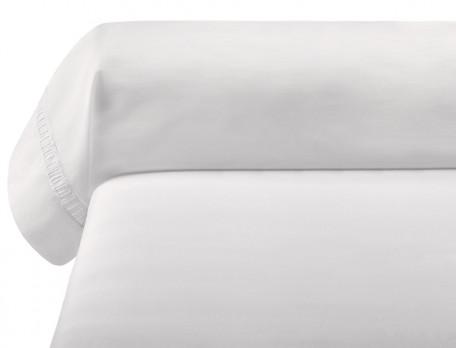 Taie de traversin percale lavée 100% coton Nuage blanc