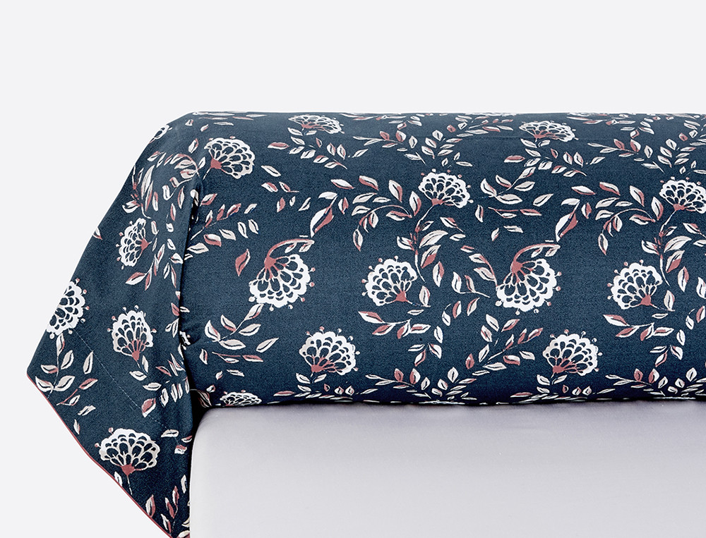 Taie de traversin percale imprimée Orange bleue