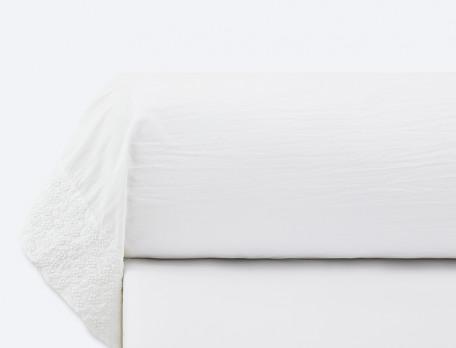 Taie de traversin percale lavée blanche brodée Rêves blancs