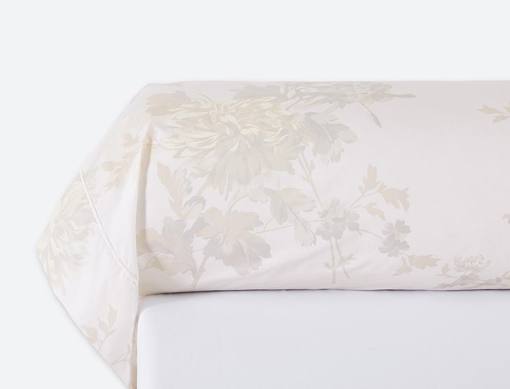 Taie de traversin percale imprimé fleuri ivoire bourdon Rêves d'opale