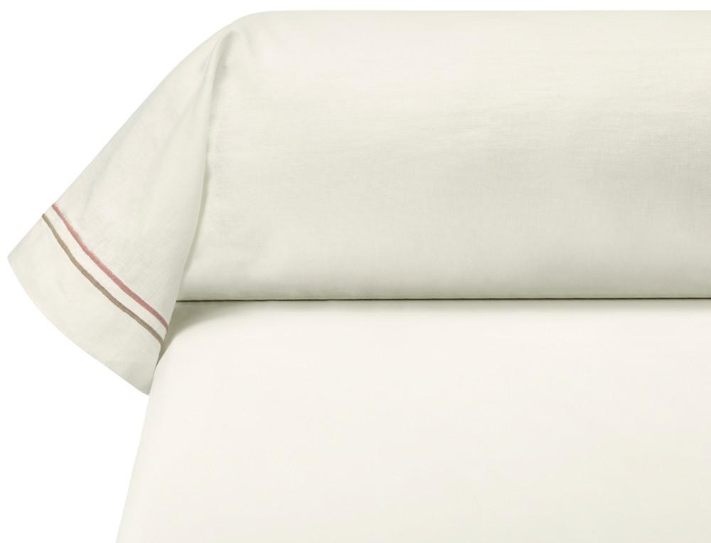 Taie de traversin métis lavé 50% lin 50% coton unie blanche Rose trémière