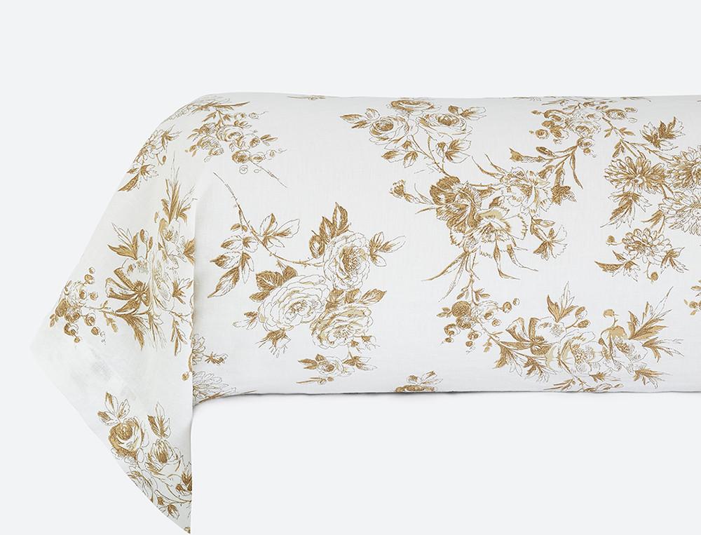 Taie de traversin lin lavé 100% coton imprimée Roses de lin