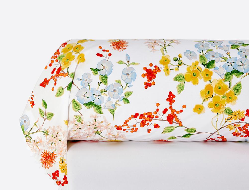 Taie de traversin percale imprimée Saveurs de fleurs