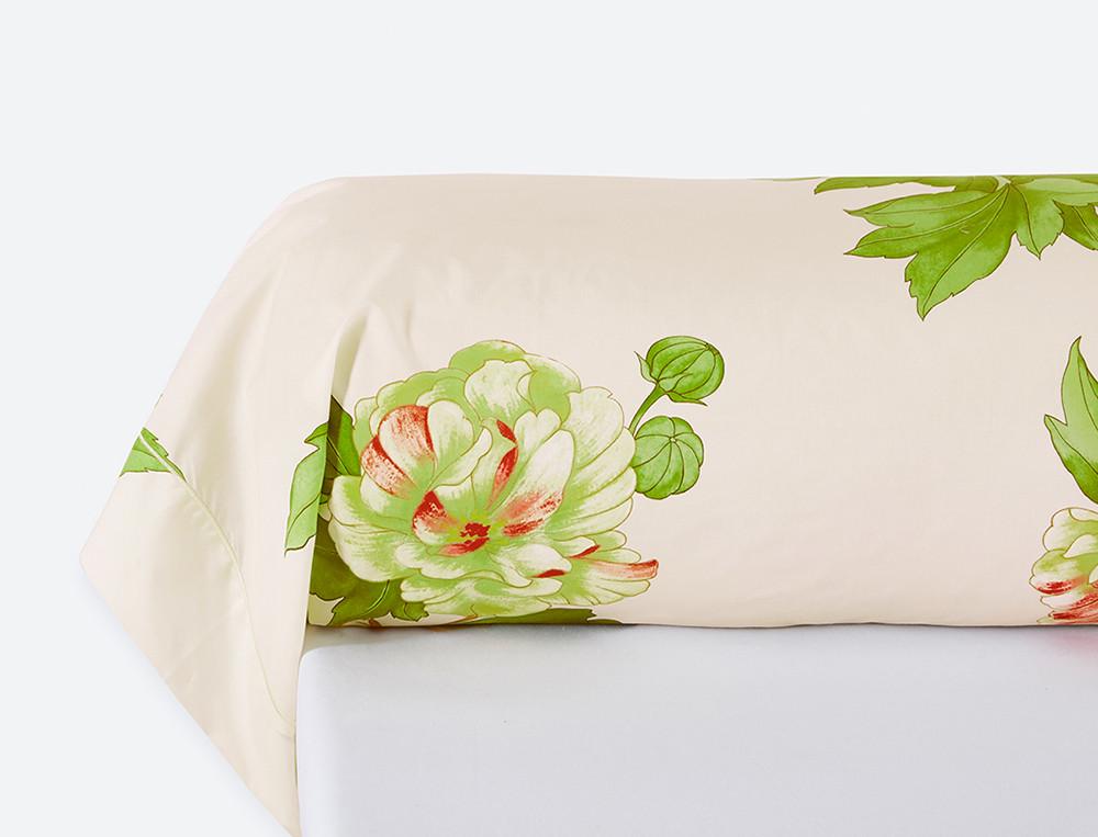 Taie de traversin percale imprimé fleuri bourdon Villa Carolina