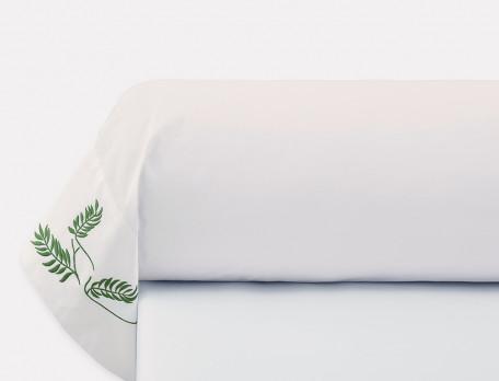 Taie de traversin percale blanche brodée Villa mimosa