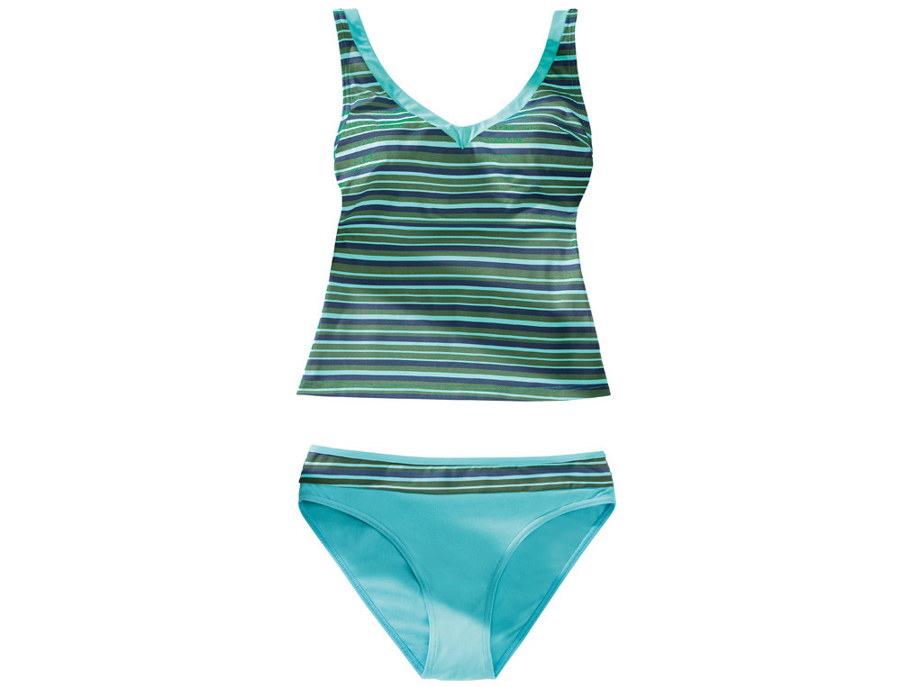 Tankini rayé et bas de maillot uni turquoise Blue lagoon