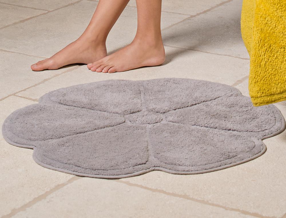 Tapis de bain 100% coton 1600g/m2 forme fleur Chlorophylle
