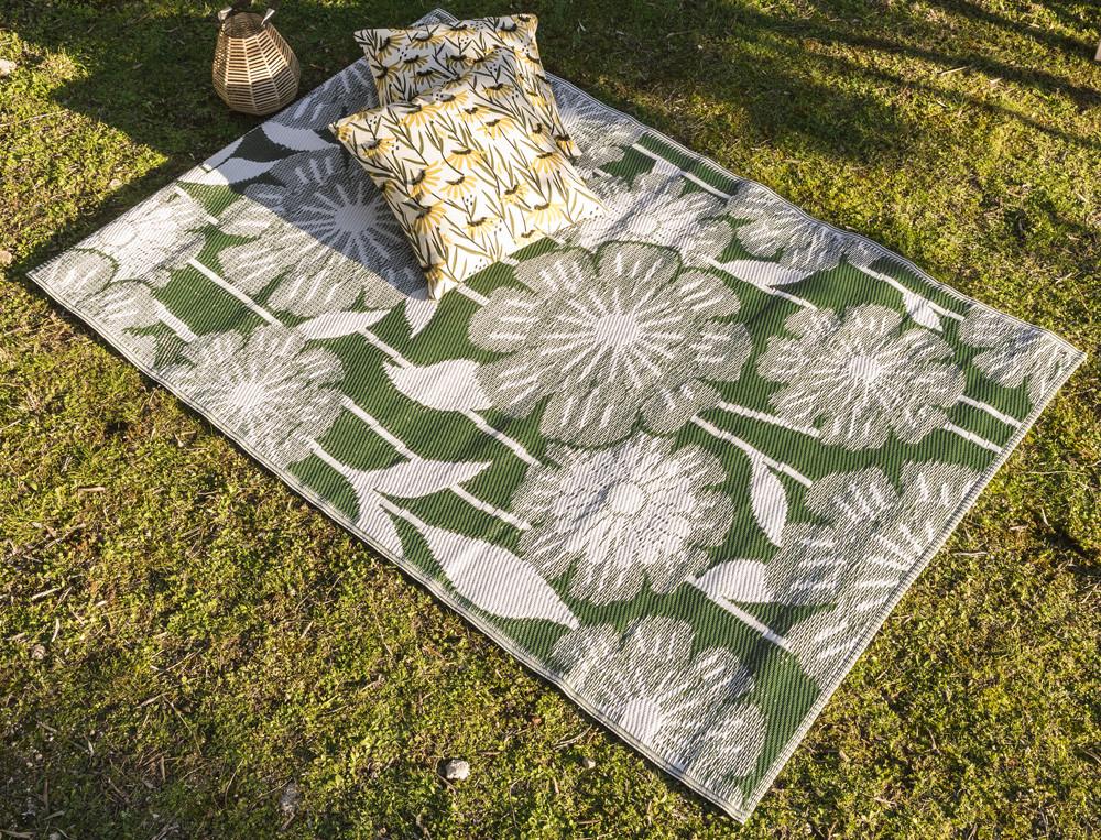 Teppich mit eingewebtem Blumenmotiv Sonnenanbeter