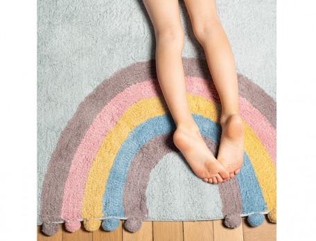 Teppich Regenbogen-Motiv Pompons Wunderwelt