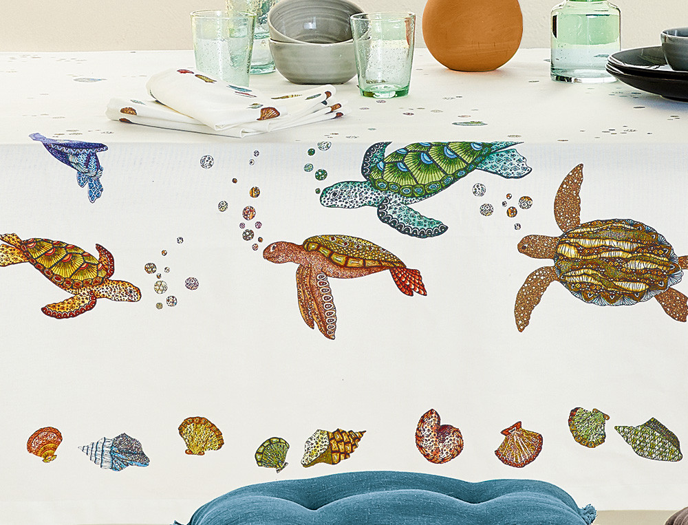 Tischdecke Meeresparadies Schildkröten-Motiv Fleckschutz