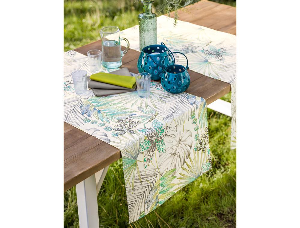 Tischläufer mit Pflanzenmotiv Fleckschutz UV-Schutz  Tropischer Garten