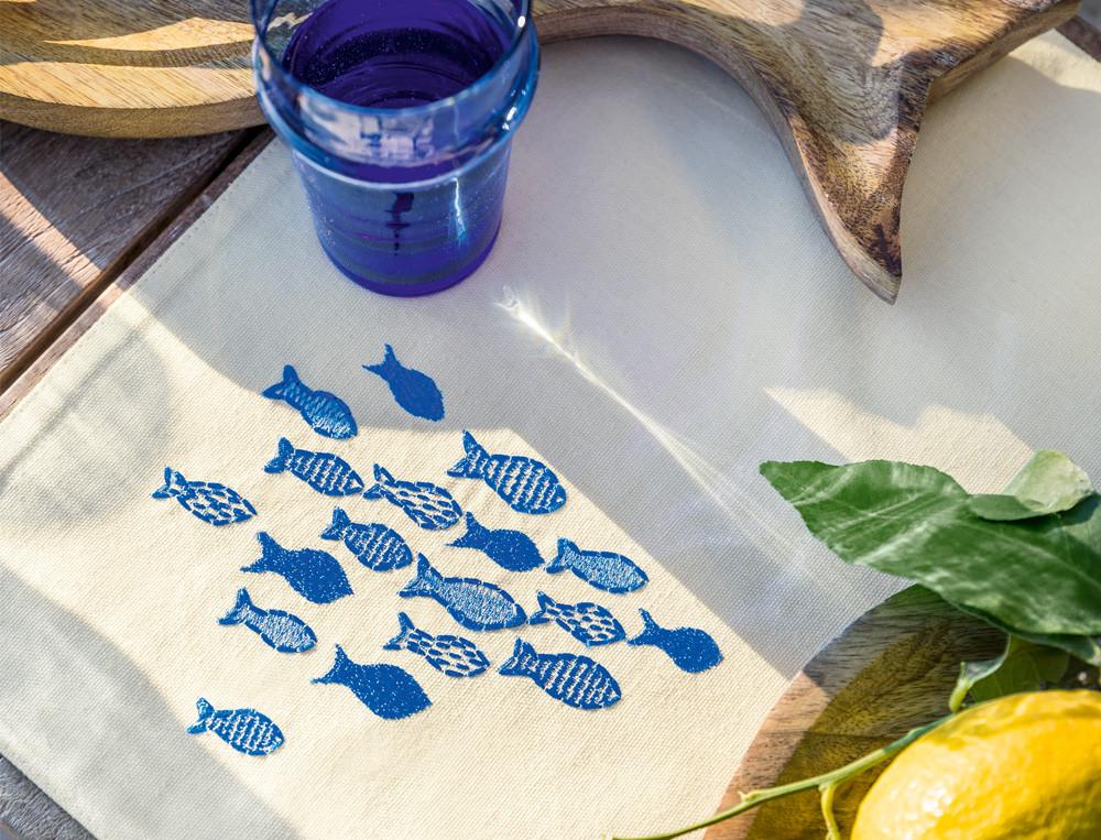 Tischsets Amorgos bestickt Fische