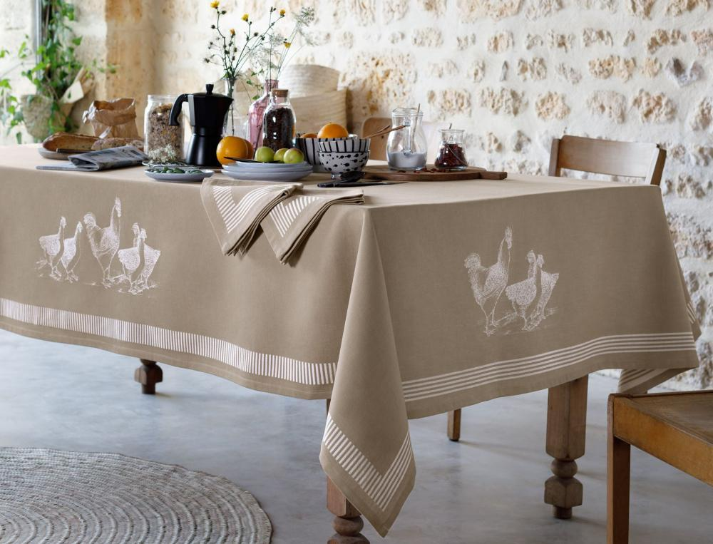 Tischwäsche Hühnerschar Linvosges Baumwolle