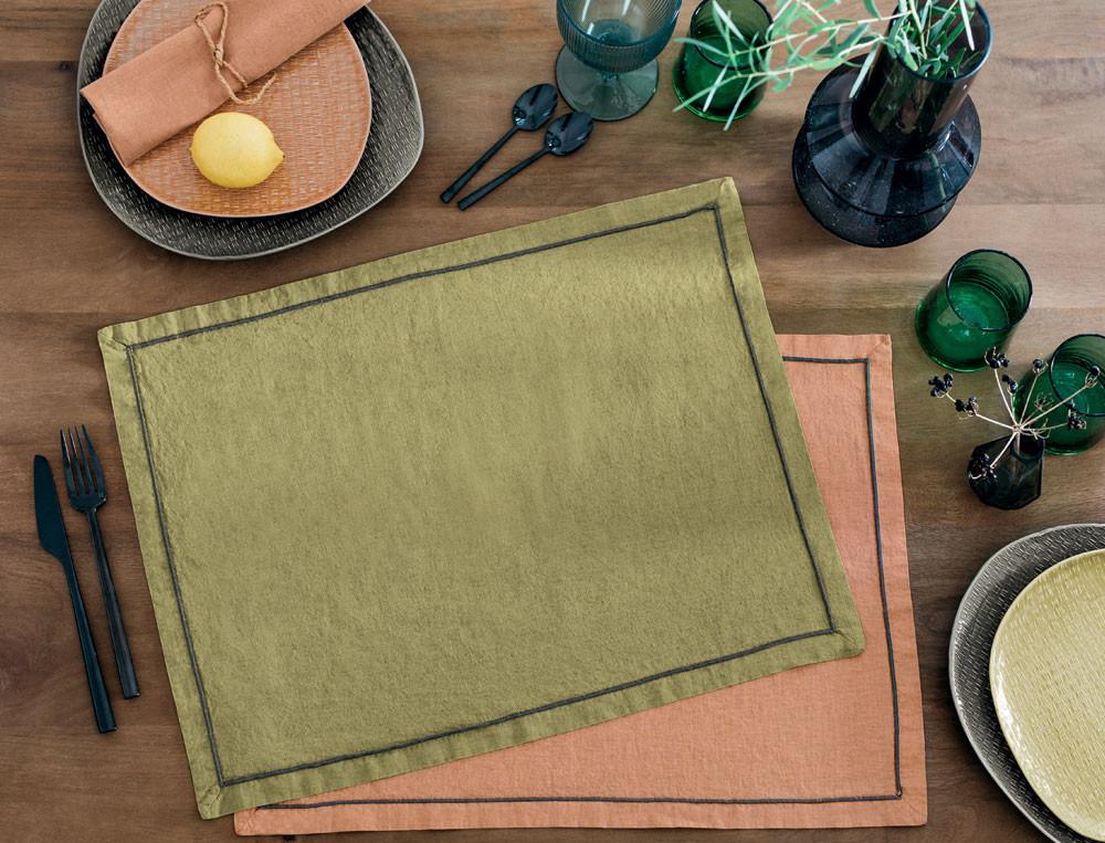 Tischwäsche Schleckermaul gewaschene Baumwolle Linvosges
