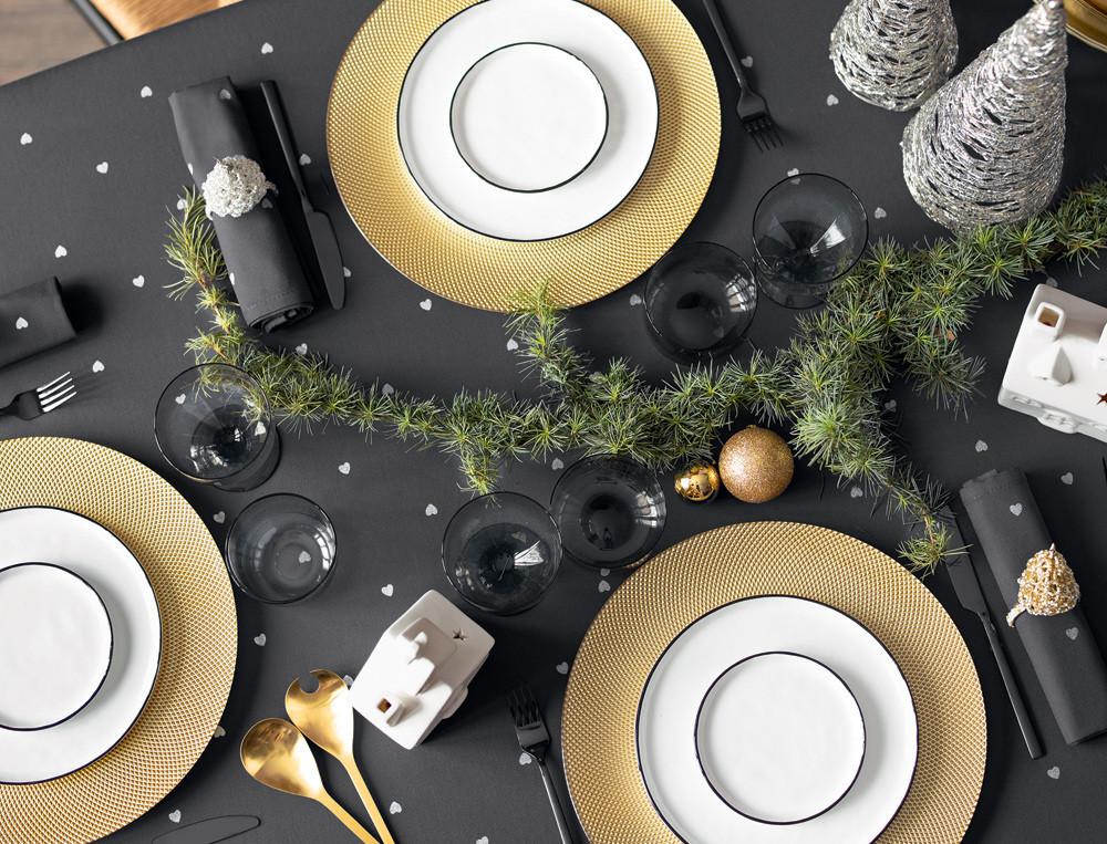 Tischwäsche Silberherz Baumwolle Teflon Fleckschutz Linvosges