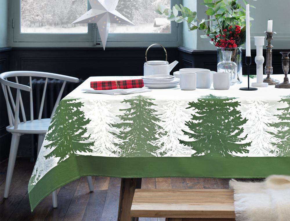 Tischwäsche Tannenwald Baumwolle Teflon Fleckschutz Linvosges