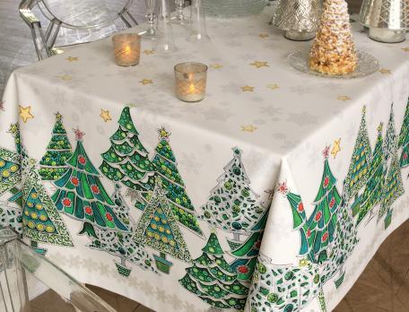 Tischwäsche Waldweihnacht mit Fleckschutz