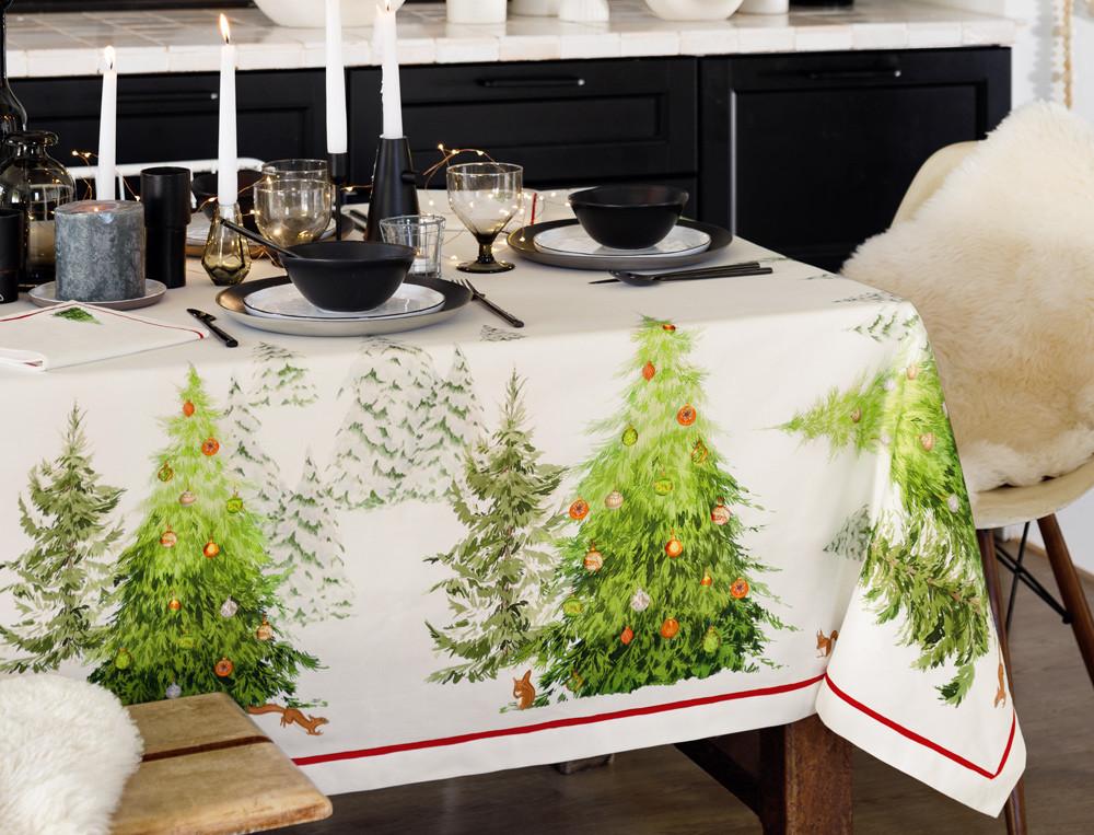 Tischwäsche Weißer Wald Baumwolle Linvosges