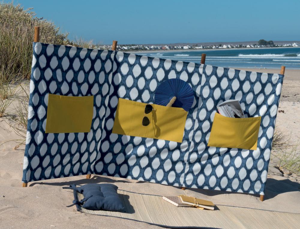 Toile brise-vent bleu et blanc Les galets de Collioure