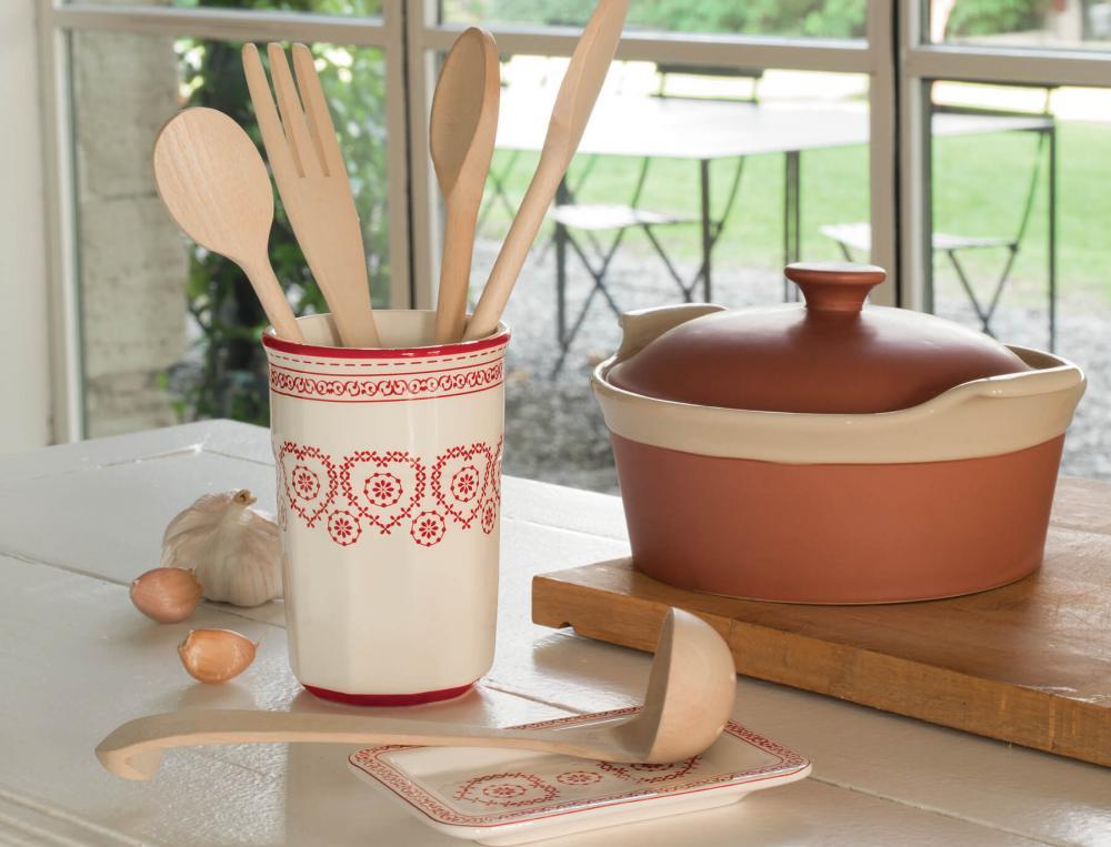 Pot à ustensiles et repose cuillère en céramique Maison de campagne