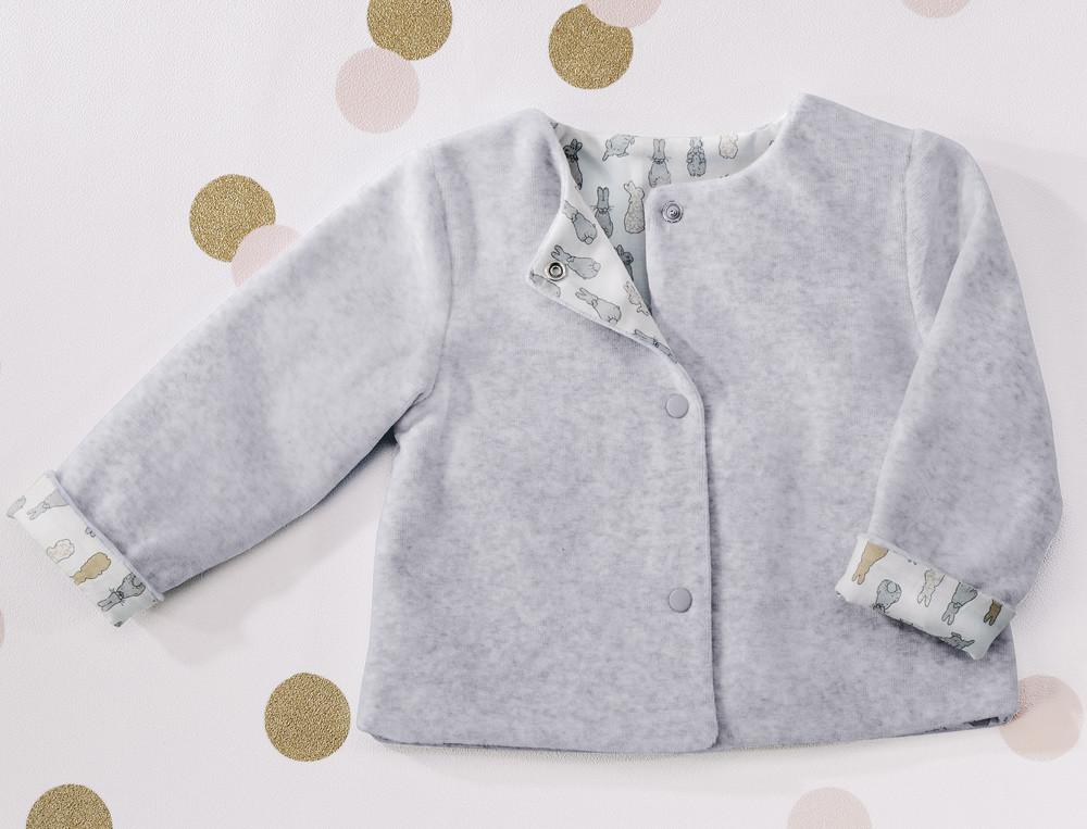 Veste bébé en velours doublure imprimée Compagnie des lapins