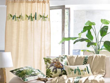Vorhang bestickt Kenia Baumwolle Linvosges