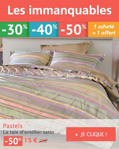 IMMANQUABE : Pastels Linge de lit fantaisie Votre Promotion à -50% !