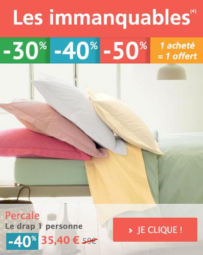 IMMANQUABE : Percale coton Linge de lit uni Votre Promotion à -40% !