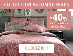 Collection Automne-Hiver Linge de maison : - 40% sur 2 articles au choix