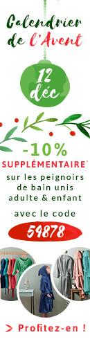 -10% en + sur les peignoirs de bain unis adulte & enfant* avec le code 54878