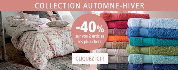 Collection Automne-Hiver Linge de maison : - 40% sur 2 articles