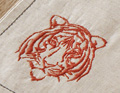 Afrikareise mit tiger-stickerei