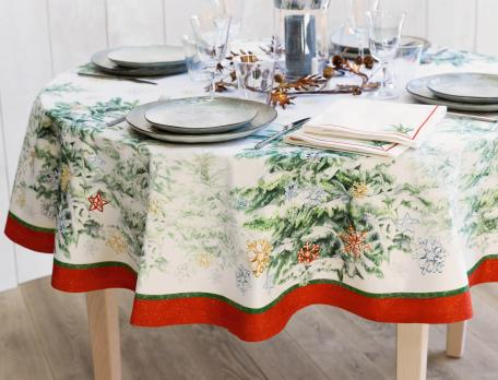 Tischdecke Schneewald Baumwolle Fleckschutz Linvosges