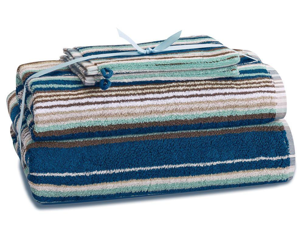 Frottee-Set gestreift Blaubeere Baumwolle Linvosges